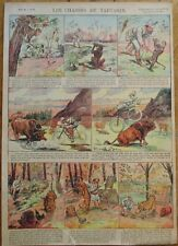 Hunter &  Monkey, Bull, Tiger 1915 French Comic Print- 'Les Chasses de Tartarin'