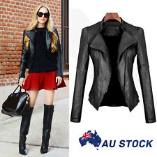 Slim Fit Women Black Biker Motorcycle Synthetic PU Leather Zipper Jacket Coat AU