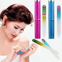 1pcs Glitter Crystal Glass With Box Nail Art Manicure Polishing Tool Nail File z
