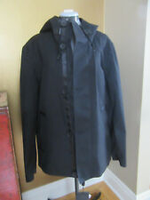 NWT MACKAGE Wright Hooded Jacket Short Trench Coat Leather Trim Black 40 S / M