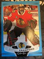 O-Pee-Chee 2019-2020 COREY CRAWFORD BLUE BORDER HOCKEY CARD #315