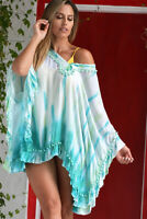 AZUCAR LADIES RAYON TIE DYE BEACH COVER UP TUNIC BLOUSE (S/M ~ L/XL) - LRT888