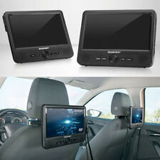"2 X SCREENS - 9"" Inch Portable CD DVD Player Remote Control Black USB SD"