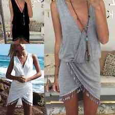 AU Womens Sleeveless V Neck Casual Short Mini Dress Summer Beach Bikini Cover Up