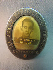 WWII Era 1942 Photo ID Badge Dayton Ohio Stanley Manf Co Brooch Pat Appl'd For