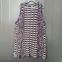 Melissa McCarthy Seven7 Purple Stripe Fringe/ Fuzzy Knit Vest Size 1X