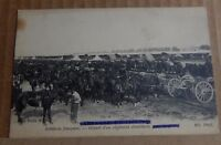 Postcard WW1 French Artillery gun carriages Horses
