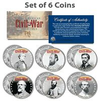 American CIVIL WAR South CONFEDERATE LEADERS Kennedy Half Dollars 6-Coin US Set
