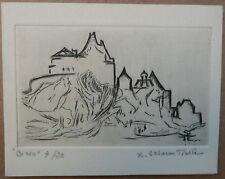 Gravure Cuivre SUZANNE TOURTE (1904-1979) Paysage Château Biron 20ex Carte Voeux