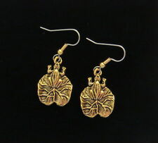Frog on Lily Pad Earringsl 24 Karat Gold Plate Frogs Lily Pads Toad Water Lily