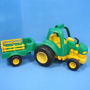 Vintage Toy TONKA FARM TRACTOR & TRAILER 2pc Green Yellow 1992