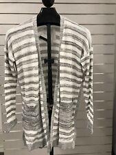 Calvin Klein Jeans Women's Long Cardigan White + Grey Stripe NWT Pick A Size