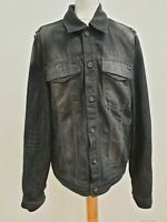 P324 MENS HILFIGER DENIM FADED BLACK COLLARED SLIM FIT DENIM JACKET UK XXL EU 56