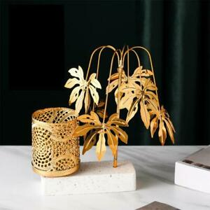 Nordic Minimalist Metal Gold Plant Leaf Decor Storage n n Pen Holder P1E9