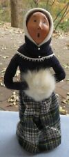 Byers Choice Caroler Traditional Woman with White Muff and Blue Plaid Skirt Mint