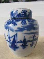 Pot à Thé Porcelaine Japonaise MOULIN/BÂTEAU BLEU 9 cm