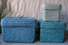 3 NEW TURQUOISE AQUA WHEAT GRASS NESTING BASKETS W/ LID TOP COVER BASKET
