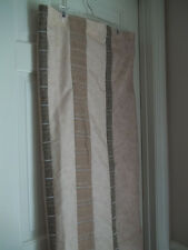 NEW B. SMITH STRIPED FABRIC SHOWER CURTAIN EARTH TONE EMBROIDERED SILVER STRIPES