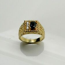 GENT'S SAPPHIRE RING WITH DIAMONDS IN 14K YELLOW GOLD RETAIL $2499