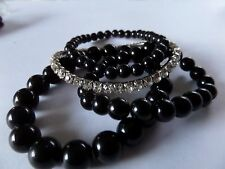 3 ROW STRETCH BLACK BEAD & SINGLE ROW DIAMANTE BRACELET new gift pouch