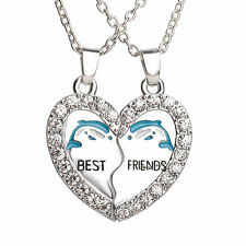 DOLPHINS Best Friends Necklace Pendant Set of 2 necklaces bff for him her