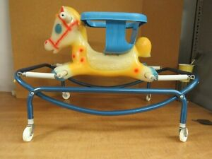 Vintage Baby Rocking Horse Li'l Tot Walker Trainer #51 Roth American Toy & Box