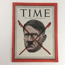 VTG Time Magazine May 7 1945 Vol 45 #19 Adolf Hitler Red X Mark's Head, No Label
