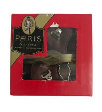 Vintage 1930s Paris Brand Men's Sock Garters Suspenders Original Box Made In Usa