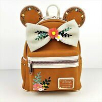 Loungefly Disney Minnie Mouse Fall Floral Mini Backpack Faux Suede Ears Bow