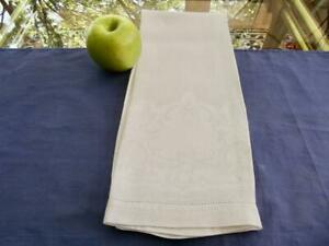 Antique Irish Huck Linen Bath Spa Towel Damask Scrolls Medallion for Mono 16x29""
