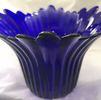 Gorgeous Vintage Cobalt Blue Glass Vase - Fluted & Scalloped - Art Glass