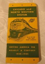 CHICAGO & NORTH WESTERN SYSTEM CALENDAR PASSENGER TRAIN RAILROAD BOOKLET 1940'S