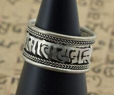 Bague tibetaine Mantra Om mani Padme Hum-metal Blanc-Free size- 9086 - J8