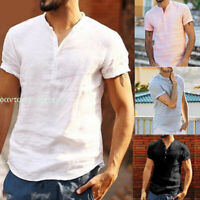 Luxury Men Short Sleeve V-neck Loose Linen T-shirt Blouse Tops Tee Shirts Summer
