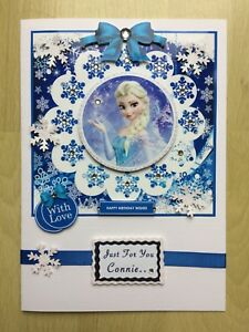Luxury Hand-Made Girl's 'Frozen Theme' Birthday Card- Can be Personalised