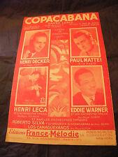 Partition Copacabana Mattei Decker Warner Leca 1944 Music Sheet