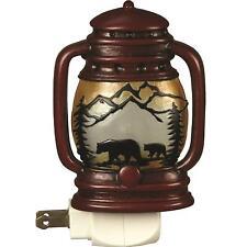Night Light Lantern Automatic Bears Rustic Decor Wildlife Cabin Lodge Home New