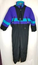 Vintage Fera Ski Suit One Piece Purple Blue Black Junior Size 10 Hooded Nylon