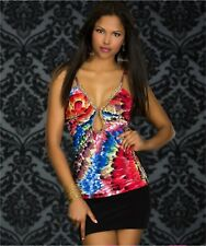 Sz 10 12 Multicolor Sleeveless V-Neck Slim Sexy Casual Cocktail Party Mini Dress