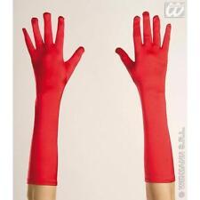 Ladies 43cm Long Red Spandex Satin Gloves Fancy Dress Accessory