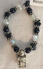 ONYX BEADED STRETCH BRACELET WITH SILVER PRAYER BOX CHARM NEW IN BOX