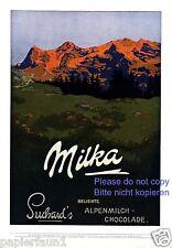 Suchard Milka Schokolade XL Reklame von 1914 Berge Alpenglühen Sonnenaufgang