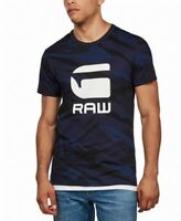 G-Star Raw Mens Shirt Blue Size Small S Graphic Tee Camo Logo Jersey $35 #172