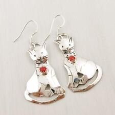 Native American Navajo Louise Yazzie 925 Sterling Silver Red Coral Cat Earrings