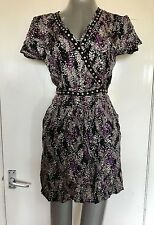 MANGO COLLECTION, EUR MEDIUM, BLACK MULTI PRINT CAP SLEEVE DRESS, PRE-LOVED