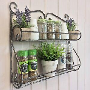 Vintage Style Shabby Chic Metal Wall Shelf Storage Unit Kitchen Spice Herb Rack