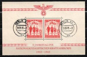 GERMANY 1945 WWII Unissued Nazi NSKK SS Block MH USED RARE