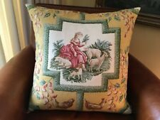 Handmade Custom Decorator Pillow Cowton & Tout Toile Feather Insert 23x21