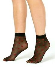 Socks Women's INC International Concepts Color Sheer Black with Hearts One Size
