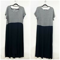 J. Jill XL Tall Womens Gray Knit Black Long Shift Dress